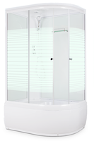 Душевая кабина Domani-Spa Light 128 high (L, белые стенки, прозрачные стекла в полоску)
