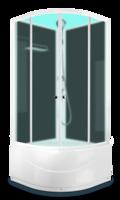 Душевая кабина Domani-Spa Eko 88 high (80x80) Черные стенки, сатин-матированные стекла