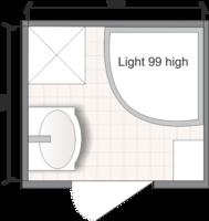 Планировка ванной комнаты с Domani-Spa Light 99 High (чертеж раздельный санузел)