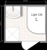 Планировка ванной комнаты с Domani-Spa Light 128 (L) (чертеж раздельный санузел)