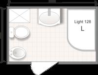 Планировка ванной комнаты с Domani-Spa Light 128 (L) (чертеж совмещенный санузел)