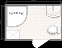 Планировка ванной комнаты с Domani-Spa Light 99 High (чертеж совмещенный санузел)