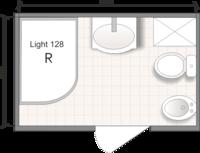 Планировка ванной комнаты с Domani-Spa  Light 128 (R) (чертеж совмещенный санузел)