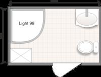 Планировка ванной комнаты с Domani-Spa Light 99 (чертеж совмещенный санузел)