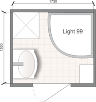 Планировка ванной комнаты с Domani-Spa Light 99 (чертеж раздельный санузел)