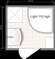 Планировка ванной комнаты с Domani-Spa Light 110 High (чертеж раздельный санузел)