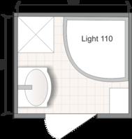 Планировка ванной комнаты с Domani-Spa Light 110 (чертеж раздельный санузел)