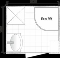 Планировка ванной комнаты с Domani-Spa Eko 99 (раздельный санузел)