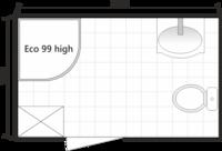 Планировка ванной комнаты с Domani-Spa Eko 99 high (совмещенный санузел)