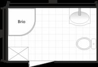 Планировка ванной с душевой кабиной Domani-Spa Brio, совмещенный санузел