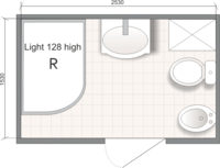 Планировка ванной комнаты с Domani-Spa Light 128 high (R) (чертеж совмещенный санузел)