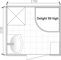 Планировка ванной комнаты с Domani-Spa Delight High (раздельный санузел)