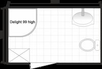Планировка ванной комнаты с Domani-Spa Delight High (совмещенный санузел)