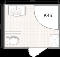 Планировка ванной комнаты с Domani-Spa К46 (чертеж совмещенный санузел)