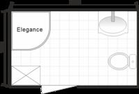 Планировка ванной комнаты с Domani-Spa Elegance (чертеж совмещенный санузел)