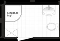 Планировка ванной комнаты с Domani-Spa Elegance High (чертеж совмещенный санузел)