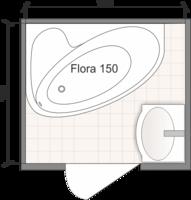 Планировка ванной комнаты с Domani-Spa Flora 150 L (чертеж раздельный санузел)