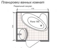Планировка ванной комнаты с Domani-Spa Flora 150 (чертеж раздельный санузел)