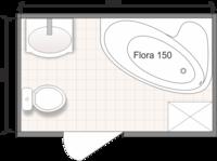 Планировка ванной комнаты с Domani-Spa Flora 150 R (чертеж совмещенный санузел)
