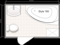Планировка ванной комнаты с Domani-Spa Style 160 R (чертеж совмещенный санузел)