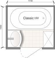 Планировка ванной комнаты с Domani-Spa Classic 150 (чертеж раздельный санузел)