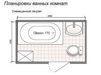 Планировка ванной комнаты с Domani-Spa Classic 170 (чертеж совмещенный санузел)