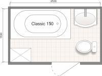 Планировка ванной комнаты с Domani-Spa Classic 150 (чертеж совмещенный санузел)