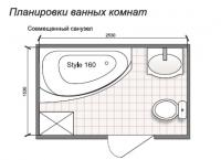 Планировка ванной комнаты с Domani-Spa Style 160 (чертеж совмещенный санузел)