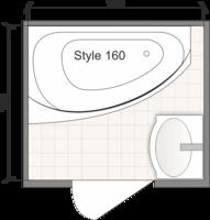 Планировка ванной комнаты с Domani-Spa Style 160 L (чертеж раздельный санузел)