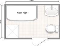 Планировка ванной комнаты с Domani-Spa Neat High (чертеж совмещенный санузел)