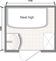 Планировка ванной комнаты с Domani-Spa Neat High (чертеж раздельный санузел)
