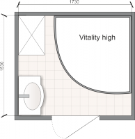 Планировка ванной комнаты с Domani-Spa Vitality High (чертеж раздельный санузел)