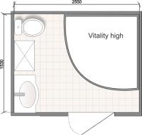 Планировка ванной комнаты с Domani-Spa Vitality High (чертеж совмещенный санузел)