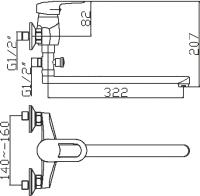 Смеситель для ванны Domani-Spa Loop D612 длинный излив схема