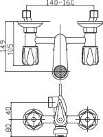 Смеситель для вынны Domani-Spa Standard D101 короткий излив схема