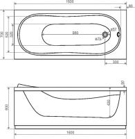 Ванна Domani-Spa Classic 160x70 (чертеж)